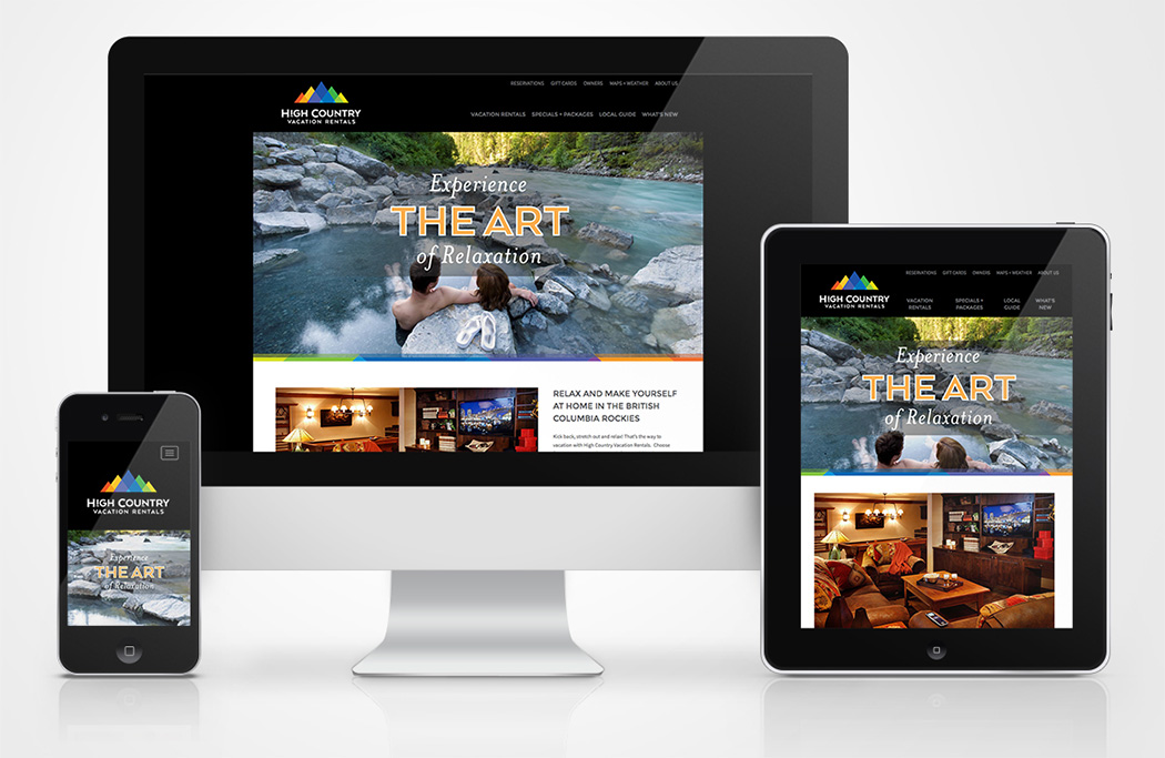 High Country Vacation Rentals website on different devices sizes