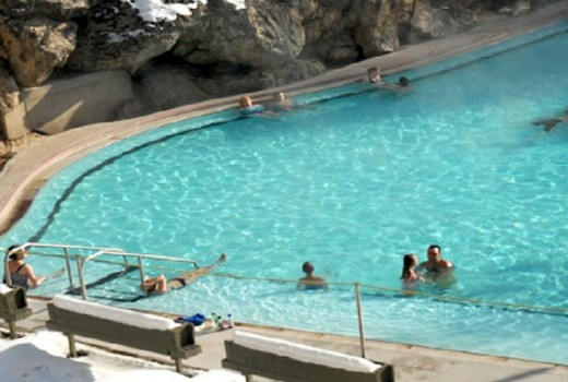 Radium Hot Springs in Winter