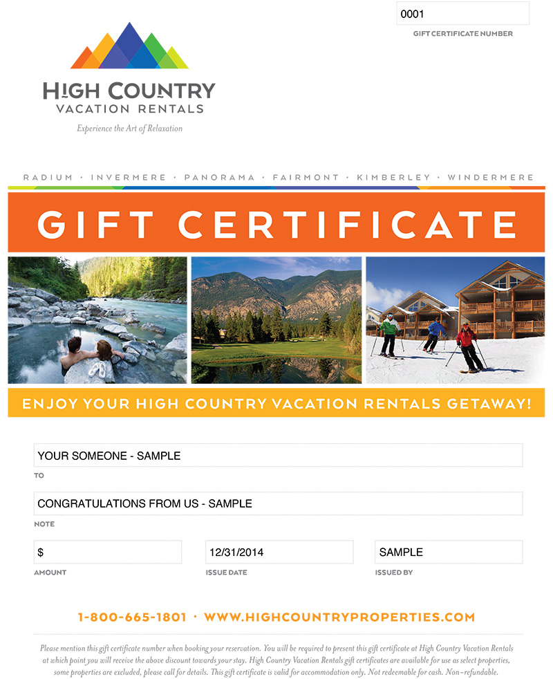 Gift Cards High Country Vacation Rentals